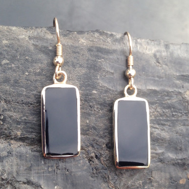 Large 9ct gold drop earrings with oblong Whitby Jet stones