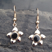 9ct gold flower drop earrings with round hand carved Whitby Jet stones