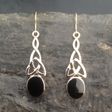 Large Celtic Whitby Jet 9ct gold drop earrings