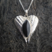 Large sterling silver angel wings pendant with a marquise Whitby Jet stone