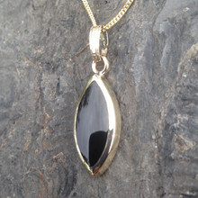 Medium marquise gold and Whitby Jet pendant