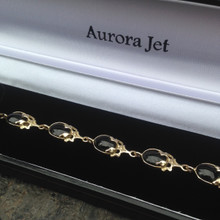 Hand crafted Whitby Jet and 9ct gold leaves multistone bracelet