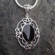 Large oval Whitby Jet and 925 silver statement necklace
