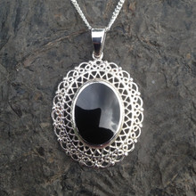 Whitby Jet and 925 silver oval lace effect necklace