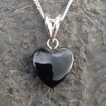 Hand carved unique Whitby Jet heart pendant on sterling silver chain