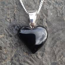 Unique hand carved offset Whitby Jet and sterling silver heart necklace