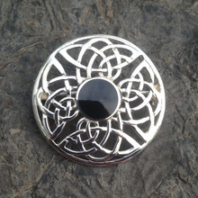 Hand crafted round Celtic Whitby Jet and sterling silver brooch
