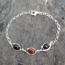 Whitby Jet Baltic cognac amber and sterling silver chain bracelet