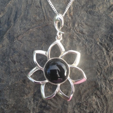 Modern Whitby Jet and 925 silver floral necklace