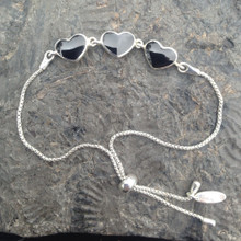 Hand crafted Whitby Jet and 925 sterling silver hearts sliding bracelet
