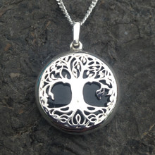 Whitby Jet and sterling silver tree of life pendant