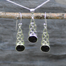Celtic Whitby Jet pendant and earring set