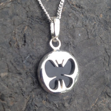 Reversible Whitby Jet and 925 sterling silver butterfly cut out necklace