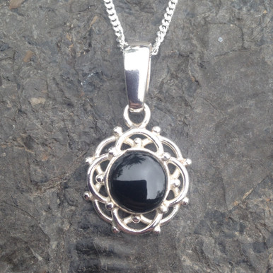 Whitby Jet sterling silver flower cabochon pendant