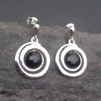Spiral shaped sterling silver and Whitby Jet cabochon drop earrings