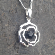 925 silver and Whitby Jet flower necklace