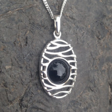 Contemporary 925 sterling silver oval Whitby Jet cabochon pendant