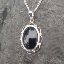 Traditional 925 silver oval rope frill bead necklace with Whitby Jet
