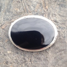Large oval sterling silver rope edge Whitby Jet pin brooch