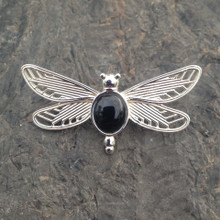 Hand crafted 925 sterling silver dragonfly brooch with oval Whitby Jet cabochon