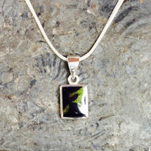 Classic small rectangular sterling silver necklace with hand carved Whitby Jet