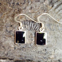 Whitby Jet Oblong Drop Earrings 227E