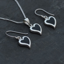 Whitby jet and silver hearts