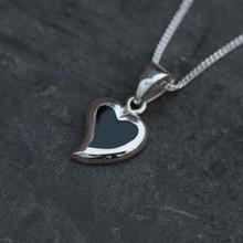 Whitby Jet Silver Framed Heart Pendant 215P