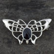 Whitby jet butterfly brooch
