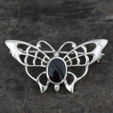 Whitby jet butterfly brooch