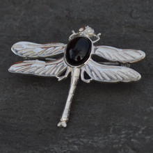 Large sterling silver dragonfly brooch with oval Whitby Jet cabochon