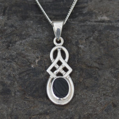 Celtic Whitby jet pendant