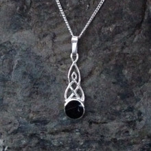 Traditional Small Celtic Whitby Jet round stone pendant on sterling silver chain