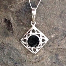 Sterling silver Square Celtic Whitby Jet pendant