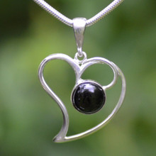 Whitby Jet Large Open Heart Pendant 089CP