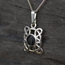 Small round sterling silver Celtic Whitby Jet Pendant