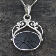 Fancy sterling silver fob pendant with oval Whitby Jet stone on 18 inch chain