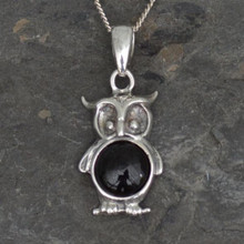 Whitby Jet Owl Pendant in .925 Silver