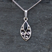 Sterling silver marquise pendant with scroll detail and Whitby Jet marquise stone