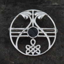 Whitby Jet and sterling silver round Celtic eternity knot pin brooch