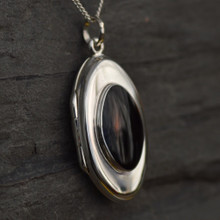 Marquise Whitby Jet and silver locket