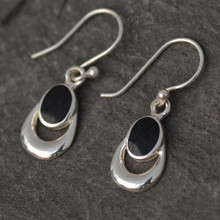 Whitby Jet Horseshoe Drop Earrings 305E