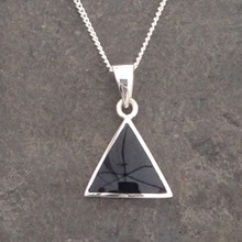 Contemporary Whitby Jet triangle pendant on sterling silver chain