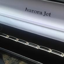 Modern sterling silver and Whitby Jet oblong stones bracelet