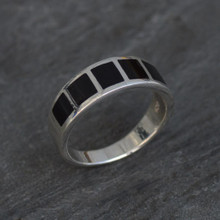 Contemporary sterling silver and Whitby Jet inlay ring