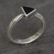 Contemporary sterling silver ring with triangular Whitby Jet stone