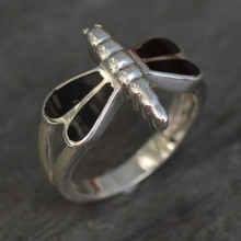 Sterling silver dragonfly ring with four Whitby Jet stones