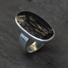Sterling silver ring with extra large oval Whitby Jet stone and wide band