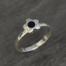Contemporary sterling silver and Whitby Jet flower ring