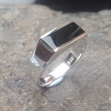 Whitby Jet and 925 silver oblong stone ring